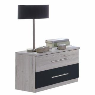 Chevet EVA 1 tiroir chêne blanchi 1 tiroir graphite