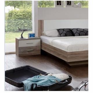 Chevet 2 tiroirs EVA chêne châtaigne / blanc