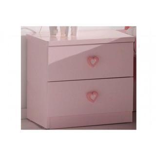 Chevet GAMMA 2 tiroirs laqué rose brillant
