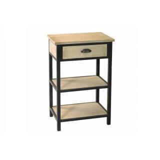 Chevet 1 tiroir 2 étagères LEA en bois de paulownia et en métal style industriel