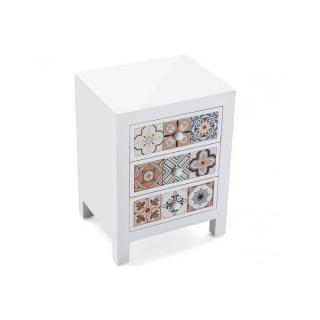 Chevet blanc 3 tiroirs JEMA