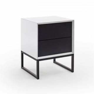Chevet 2 tiroirs KOUROU blanc et noir mat