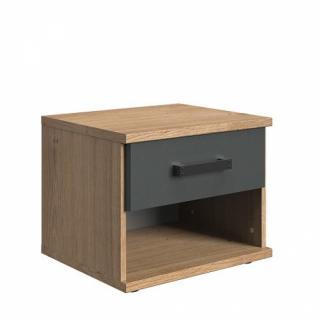 Chevet 1 tiroir LISBURN  style industriel chêne poutre graphite