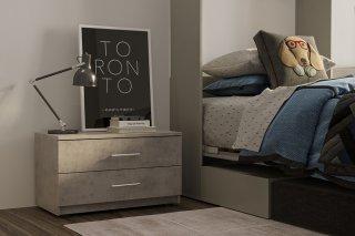 Chevet 2 tiroirs LOFT gris béton