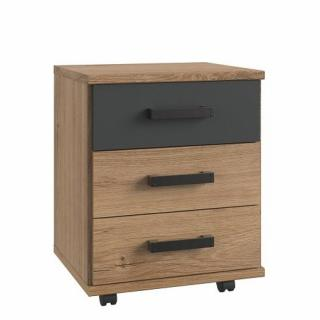 Chevet mobile 2 tiroirs LISBURN style industriel chêne poutre graphite