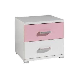 Chevet ORION 2 tiroirs blanc et rose