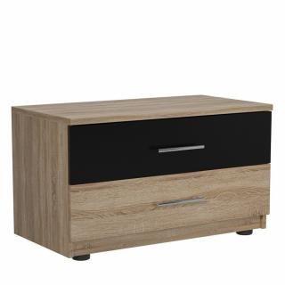 Chevet 2 tiroirs TEKNO chêne naturel noir mat