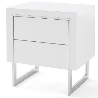 Chevet COPENHAGUE laqué blanc brillant piétement métal chromé 2 tiroirs