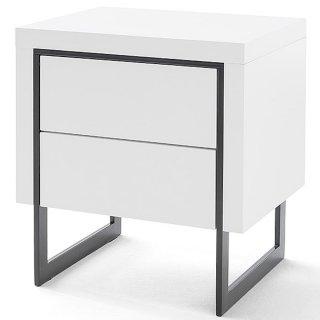 Chevet COPENHAGUE laqué blanc brillant piétement métal noir 2 tiroirs