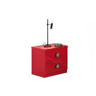 Chevet TUCANA 2 tiroirs laqué rouge brillant
