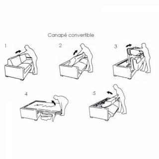 Canapé d'angle NORWAY 120 cm convertible RAPIDO couchage quotidien 16 cm