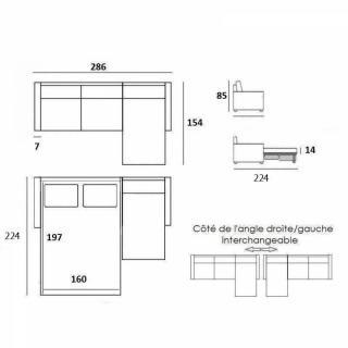 Canapé d'angle NORWAY matelas 16 cm système rapido sommier lattes 160cm RENATONISI