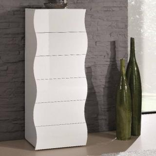 Chiffonnier VAGUE 6 tiroirs blanc brillant