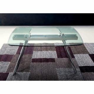 CHRONOS Table repas extensible, plateau en verre, piétement en métal chromé