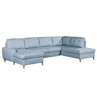 Canapé d'angle panoramique gigogne convertible express CIOLA méridienne gauche tissu tweed bleu ciel