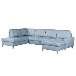 Canapé d'angle panoramique gigogne convertible express CIOLA méridienne droite tissu tweed bleu clair