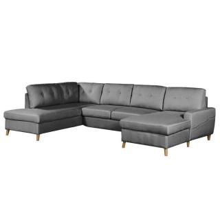 Canapé d'angle panoramique gigogne convertible express CIOLA méridienne droite tissu tweed gris graphite