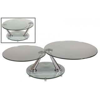 Table basse design CIRCLE ronde double plateaux