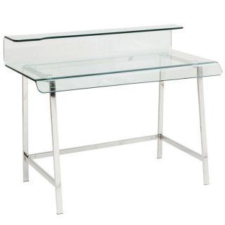 Bureau CLEAR en verre et acier inoxydable