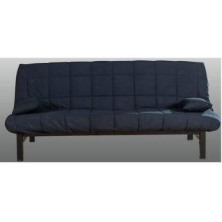 CLIC CLAC convertible KINSALE en métal noir tissu bleu nuit 120*185cm