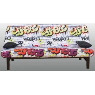CLIC CLAC convertible KINSALE en métal noir imprimé Graffiti 120*185cm