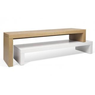 CLIFF 120 meuble TV design laque blanc mat et chêne