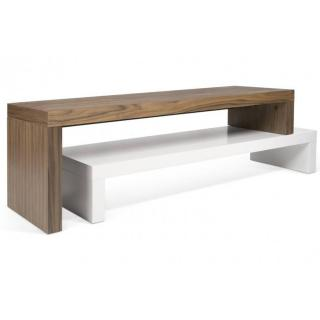 CLIFF 120 meuble TV design laque blanc mat et noyer