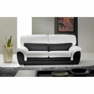 CLOÉ canapé cuir vachette 3 places. Bicolore noir et blanc.