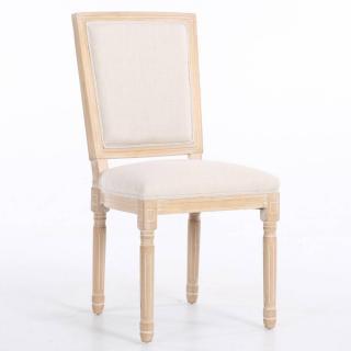 Chaise design rustique CLOVIS lin écru