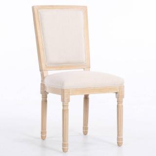 Chaise design rustique CLOVIS velours blanc