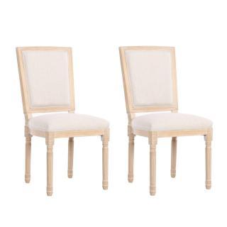 Lot de 2 chaises design rustique CLOVIS lin écru