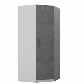 Armoire d'angle dressing LOFT blanc mat 1 porte gris béton 100 x 100 cm