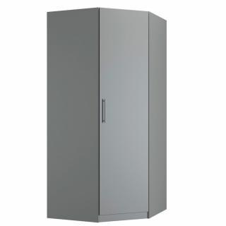 Armoire d'angle 1 porte 100 x 100 cm 1 étagère, 1 tringle penderie coloris gris graphite mat