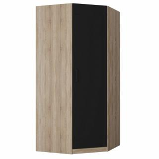 Armoire d'angle dressing TEKNO chêne 1 porte noir mat 100 x 100 cm