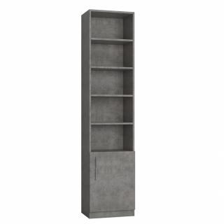 Colonne de rangement bibliothèque 1 porte gris béton L:50 x 35 H: 219 cm