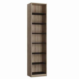 Colonne bibliothèque style industriel TEKNO bi-ton chêne noir mat 50 x 42 cm