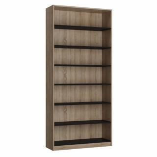 Colonne bibliothèque style industriel TEKNO bi-ton chêne noir mat 100 x 42 cm