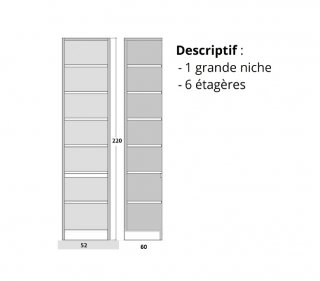Colonne de rangement 5 étagères en bois 60 cm de profondeur