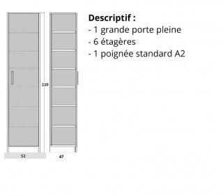 Colonne de rangement 6 étagères en bois avec porte battante POIGNEE A DROITE 47cm de profondeur