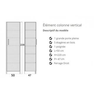 Colonne de rangement 5 étagères en bois avec porte battante  POIGNEE A GAUCHE 47 cm de profondeur