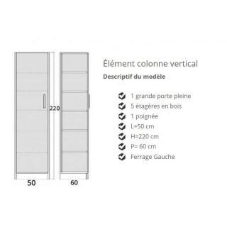Colonne de rangement 5 étagères en bois avec porte battante POIGNEE A DROITE 60cm de profondeur