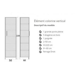 Colonne de rangement 5 étagères en bois avec porte battante  POIGNEE A GAUCHE 60 cm de profondeur