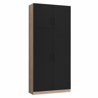 Colonne de rangement penderie style industriel 4 portes TEKNO bi-ton chêne noir mat 100 x 42 cm