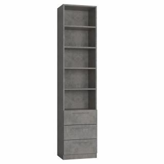 Colonne de rangement bibliothèque 3 tiroirs gris béton L:50 x 35 H: 219 cm