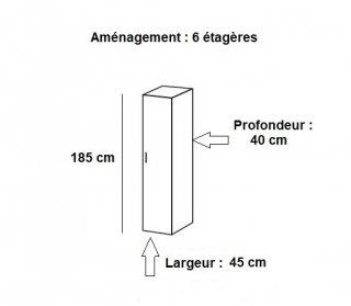 Colonne de rangement LUND 1 porte blanc mat 45 x 40 cm profondeur