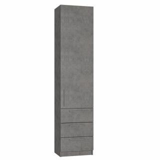 Colonne de rangement 2 portes 3 tiroirs gris béton L:50 x 35 H: 219 cm