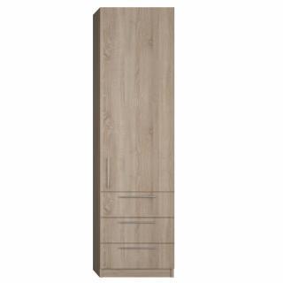 Colonne de rangement 1 porte, 3 tiroirs finition chêne naturel largeur 50 cm