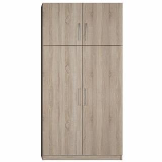 Armoire de rangement lingère 4 portes largeur 100 cm finition chêne naturel