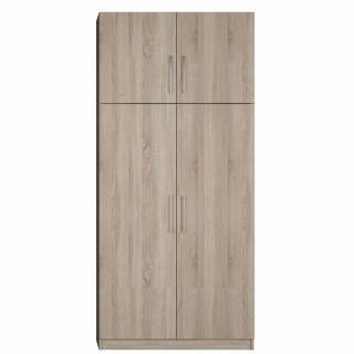 Armoire de rangement 2 tringles penderie 4 portes largeur 100 cm coloris chêne naturel