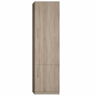 Colonne de rangement 2 portes finition chêne naturel largeur 50 cm